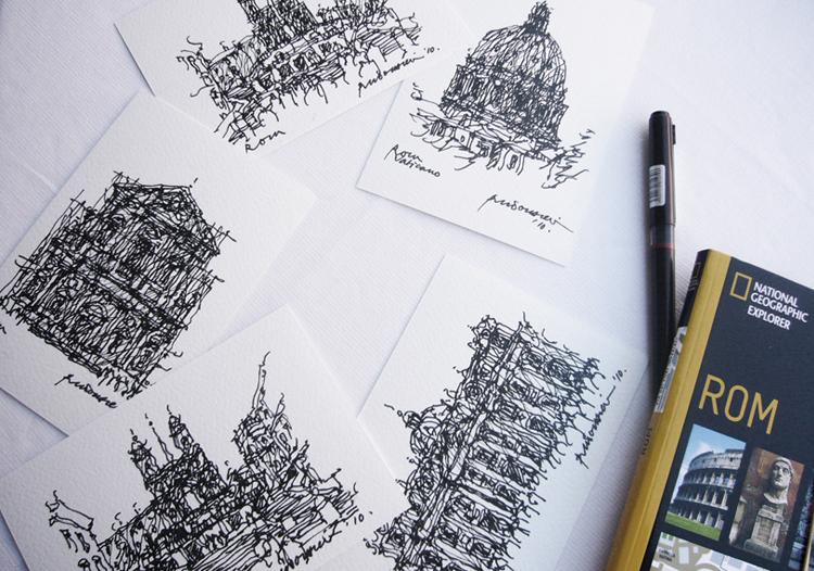 zeichnung-venedig-rudolf-deil-Postkarten